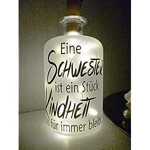 AScreativ Dekoflasche mit Beleuchtung - Schwester LED Leuchte Leuchtflasche Bottlelight Lichterkette Geschenk Flaschenlicht Homedeco modern