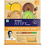 Saffola FITTIFY Gourmet Hi-Protein Slim Meal-Shake, Meal Replacement, Assorted Flavours, (Swiss Chocolate, Alphonso Mango, Cookies & Cream & Pistachio Almond), 4 X 35 g