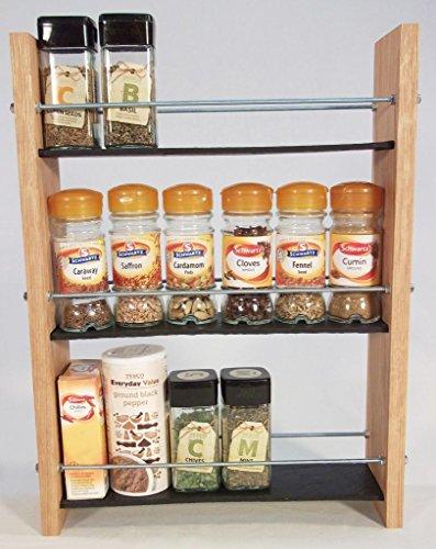 Design en Chêne massif et Ardoise.. Épice/Présentoir pour plantes.. 3 Niveaux, 18 pots - Style moderne contemporain - Étagères profondes pour les larges bocaux d'épices, boîtes, pots Kilner