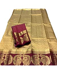 C J Enterprise Women's Kanjivaram Cotton Silk Sarees With Blouse Piece