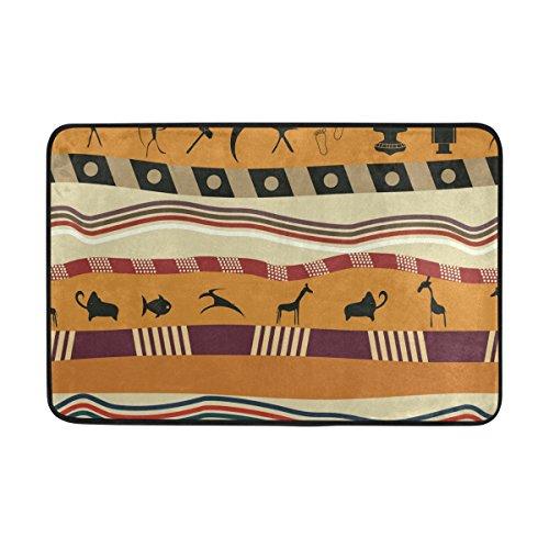 Ahomy Polyester Badteppich Afrika Art Rechteckige Fußmatte Schlafzimmer Matte Wohnzimmer Badezimmer Dusche Matten Rutschfeste weiche saugstarke Kleine Bereich Teppiche 60x 40cm (2x 1.3ft)