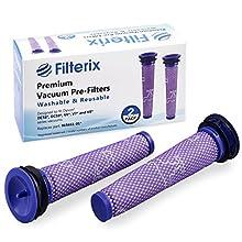 Filterix - Lot de 2 Filtres Lavables Pour Dyson Préfiltres De Remplacement - Filtre Pré-Moteur Compatible Avec Dyson V6 V7 V8 DC58 DC59 DC61 DC62 DC74 Remplace Dyson 965661-01