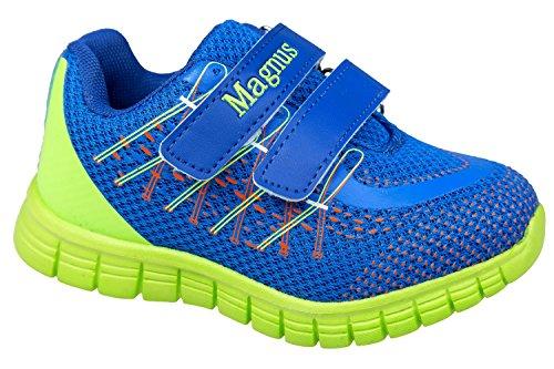 Gibra® Bambini Sport scarpe, con chiusura in velcro, blu/verde fluo, taglia 25–30 Blu/Verde fluo