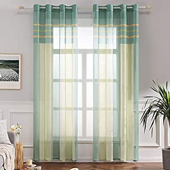 MIULEE 2 Panel Contemporary Decorative Ring Top Eyelet Voile Curtains Elegance Pinstripe Sheer Panels for Bedroom Livingroom Nursery Room 55 wide x 88 Drop 140cm x 225cm Green+Pink