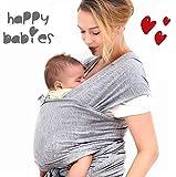 HAPPY BABIES Fular Portabebés elástico de recién nacido hasta 23 Kg Algodón CALIDAD PREMIUM 520 x 55 cm Suave cómodo Bolsa de tela incluida