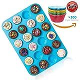 Joyoldelf 24er Mini-Muffinform Silikon Backform,Bonus 100 Stück zufällig Papier Backformen, antihaftbeschichtet, Cupcakes, Kuchen, Pudding, Muffinform, blau