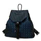 Brand New Women Matte Triangle Laser Backpack Female Bags Diamond Geometry Quilted Backpack Mosaic School Bags Blue 13 inches