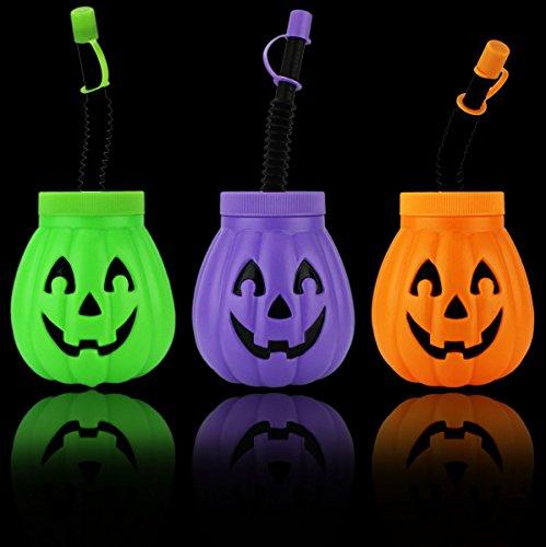 GYD Halloween Becher im Kürbis Designe mit Strohhalm Party Feier Süsses Saures (Süßes Oder Saures)
