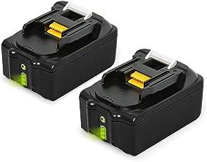 RSEB 2x BL1860B 18V 5,5Ah Lithium Ersatzakkus kompatibel werkzeug akku Makita BL1860B, BL1860, BL1850B, BL1850, BL1840B, BL1840, BL1830B, BL1830, BL1820, BL1815, BL1825, BL1835, BL1845, 194205-3,194309-1,194204-5,196399 -0,196673-6, LXT-400 mit Indikator