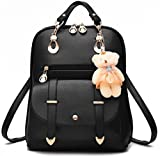 Fashion Girl's Women Synthetic Leather School Shoulder Bag Backpack Travel Rucksack Purse With Adorable Bear