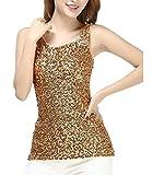 Gladiolus Damen Sparkle Shine Glitzer Pailletten Weste Verziert Ärmellos Boot-Ausschnitt Tank Top Gold Einheitsgröße