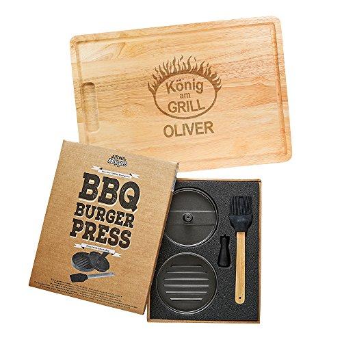 Stand Hält 12 Cues (Kitchen Rockstars 2er Grillset – Burgerpresse mit Beschichtung – Schneidebrett mit Gravur – Personalisiert mit [Namen] –König am Grill – Geschenke für Männer – Silikonpinsel – Vatertagsgeschenke)