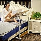 YZZG Schreibtisch, Einfacher Klappbarer Schreibtisch Abnehmbarer Bett-Arbeitstisch Kinder-Schreibtisch mit Verstellbarer Höhe Laptop-Betttisch, tragbarer Stehpult Haushalts-Hubtisch,L80W40,Weiß