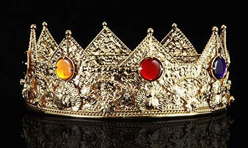 Kings Kostüm Crown Zubehör - Elope 94201LG Goldfarbene Krone König Kostüm-Zubehör