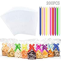 200PCS 16 x 24 cm Clear Cellophane Treat Bags and Ties, SMALUCK Thick OPP Resealable Flat Cello Bags with 1.5 x 26 cm Mix Colors Pull Bows for Gift Wrapping, Bakery, Popcorn, Cookies, Candies, Dessert