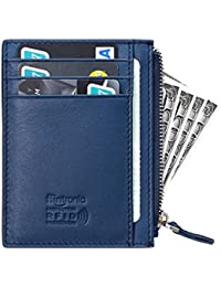 flintronic Tarjeta de Crédito Slim, RFID Bloqueo Monedero de Cuero, Mini Billetera para Tarjetas