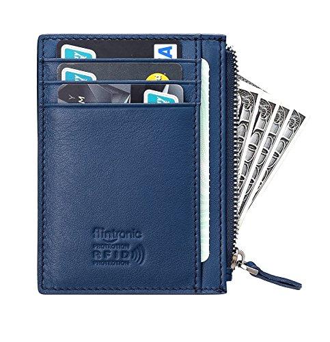 flintronic Geldbörse klein, Visitenkartenetui Leder mit Münzfach/Kleingeldfach & RFID-Schutz, Kleiner dünner praktischer Geldbeutel, Brieftasche,Portemonnaie (#2 Blau mit Reißverschluss) (Blaue Brieftasche Mit Reißverschluss)