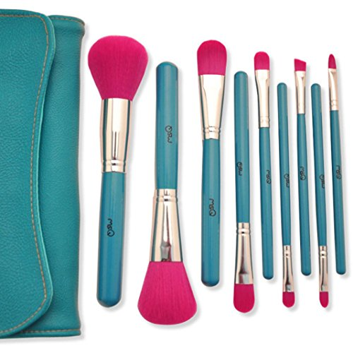 Make Up Brush, lanowo 9pcs Artificiale avanzata cavo a Blu Classico Pennello Set di pennelli con PU borsa