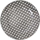 Krasilnikoff Platos de postre de color gris oscuro con estrellas blancas