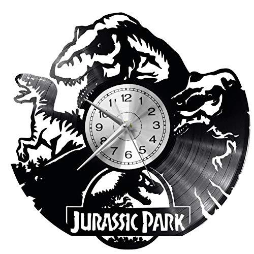EVEVO Jurassic Park Wanduhr Vinyl Schallplatte Retro-Uhr groß Uhren Style Raum Home Dekorationen Tolles Geschenk Wanduhr Jurassic Park