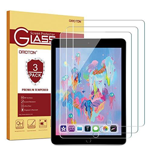 OMOTON Protector Pantalla para iPad Pro 9.7 / iPad 2018 / iPad 2017 / iPad Air 2 / iPad Air Cristal Templado para iPad 9.7 Pulgadas, 2.5D, Anti-arañazos, Sin Burbujas, 3 Piezas