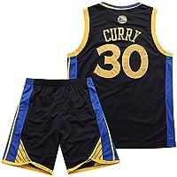 BUY-TO Warriors 30 Curry Jersey Pantalones Cortos de la NBA Traje de Uniforme de Baloncesto,Black,M