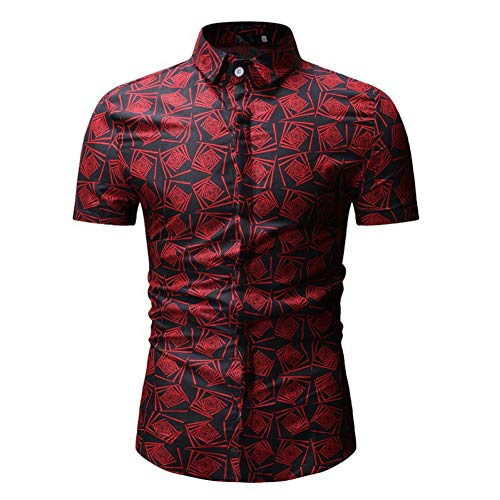 PARKLEES Herren Hipster Geometrische Floral ShirtSommer Neue Kurzarm Hawaiian Shirt Männer Plus Größe Party Casual Kleid Shirts Chemise -