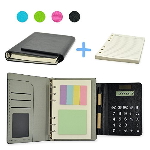 "2017 PU Leather 6 Ring Executive Personal Organisers Business Multi-function Ruled Notebook With Solar Power Calculators and Card Slot 7""(7 1/4""x5 1/2""x1 1/4"") + EXTRA 1 set Refills"