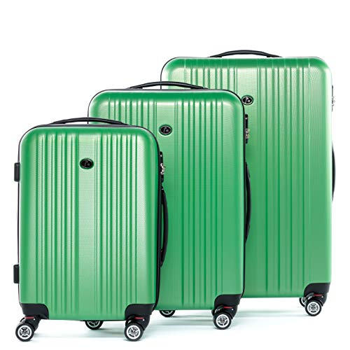 FERGÉ Kofferset Hartschale 3-teilig Toulouse Trolley-Set - Handgepäck 55 cm L XL - 3er Hartschalenkoffer Roll-Koffer 4 Rollen 100{a7e7ceb3592dcc43df1579abd520ed2163a00fa2ecda50185362201df752f3d8} ABS grün