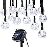 AOOKEY 40er LED Solar Lichterkette Garten Globe Außen Warmweiß 8 Modi 6 Meter, Solar Beleuchtung Kugel für Party, Weihnachten, Outdoor, Fest Deko usw. (40er LED Solar kaltesweiß)