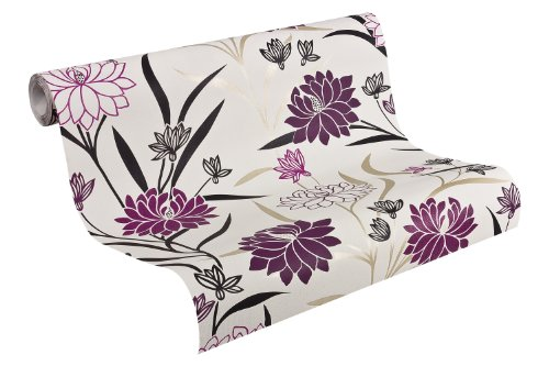 Best of Vlies Tapete - Material: in creme, schwarz, violett (Nr. 7622-4927)