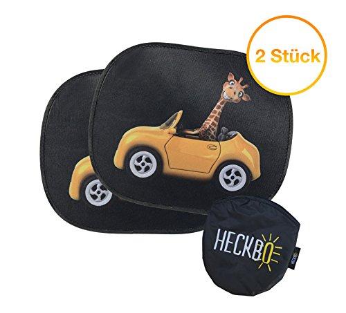 Selbsthaftende Auto Sonnenblende - Sonnenschutz für Kinder (2 Stück) | für Seitenfenster & Heckscheibe | Motiv: Giraffe im Auto | inkl. gratis Tasche | effektiver Schutz vor UV Strahlen - von HECKBO