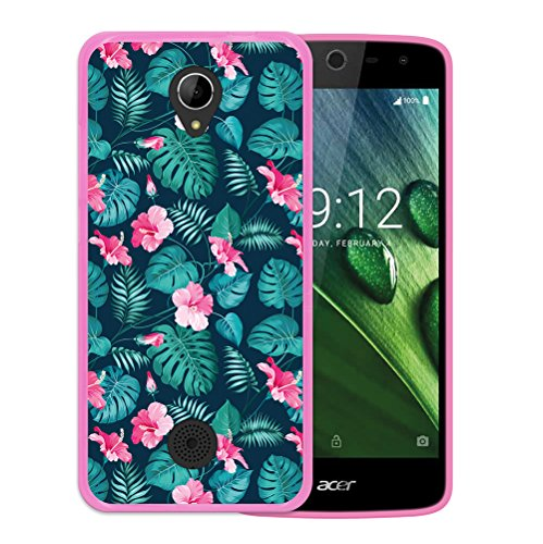 WoowCase Acer Liquid Zest Hülle, Handyhülle Silikon für [ Acer Liquid Zest ] Tropische Blumen 2 Handytasche Handy Cover Case Schutzhülle Flexible TPU - Rosa