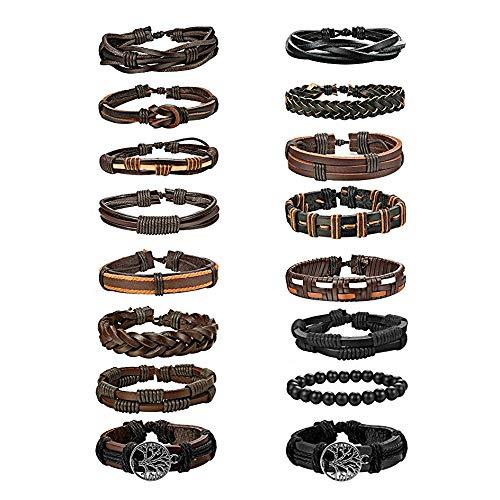BE STEEL 16 STÜCKE Geflochtene Leder Armbänder für Herren Damen Punk Seil Armband Manschette Vintage Armbänder Wrap Set, Einstellbar