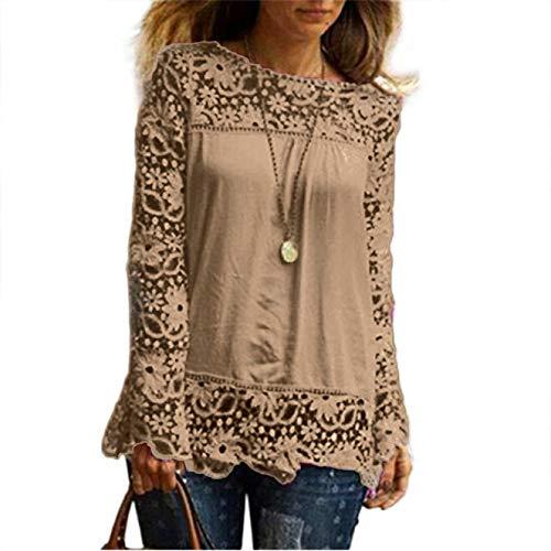 MORCHAN Chemise à Manches Longues pour Femmes Fashion Casual Blouse en Dentelle Tops en Coton lâche T-Shirt(FR-40/CN-XL,Khaki)