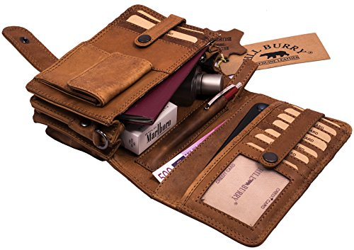Hill Burry Leather Shoulder Bag | Travel wallet made of natural tanned leather - Organizer (Brown)