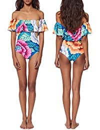 Vandot Damen Badeanzug One Piece Swimsuit Swimwear Bikini Frauen Drucken Blumen Flower Strand Bandeau Bademode Tankini Monokini