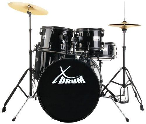 xdrum-rookie-20-studio-schlagzeug-komplettset-black-inkl-schule-dvd