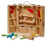 roba Werkzeugkoffer, großer Koffer mit Meister Werkzeug aus Holz, Meister-Werkbank mit umfangreichem Werkzeug Set, großer Arbeitsplatte, Ablage und 3 Schubfächern