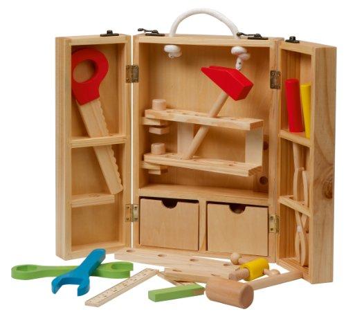 großer Koffer mit Meister Werkzeug aus Holz, Meister-Werkbank mit umfangreichem Werkzeug Set, großer Arbeitsplatte, Ablage und 3 Schubfächern ()