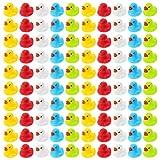 Wellgro 100 Patos de baño (Amarillo, Rojo, Blanco, Azul, Verde), Cada Pato de Goma Mide Aprox. 3,5...