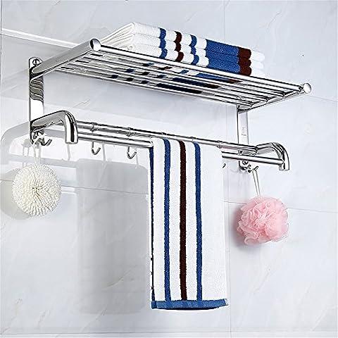 ZLYAYA--Porte-serviettes,Crochets de serviette ,Double-couche épaisse de frappe en acier inoxydable 304 casiers salle de bains, matériel 80cm Anneaux de serviette,Tablettes Porte-serviette