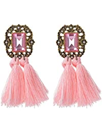 Ularma Las mujeres de moda diamantes de imitación lana borlas pendientes joyería hermosa Retro