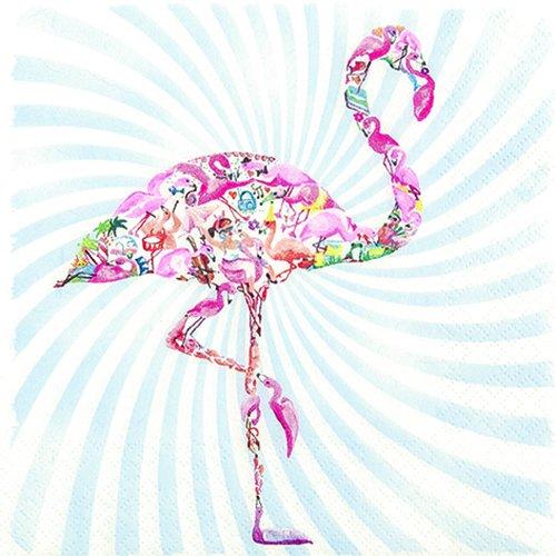20 Servietten Flamingo - Bunter Flamingo / Tiere / Hawaii 33x33cm