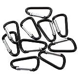 TOOGOO(R) 10 pezzi nero D Shaped in lega di alluminio a scatto gancio portachiavi gancio catena moschettone