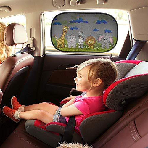 Parasol coche infantil con protección UV - 2 parasoles coche autoadhesivos para proteger del sol a bebés y mascotas, tamaño M/L de 51x31 cm