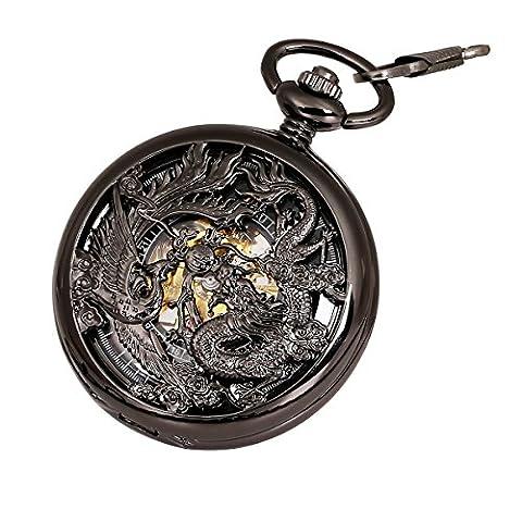 Antique Mécanique Montre de poche Chanceux Dragon & Phoenix (meilleurs voeux) Cadran squelette avec chaîne pour les Hommes Femmes + Coffret