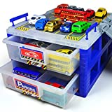 HapiLeap Plastic Dustproof Toy Cars Parking Storage with Ttrack Plastic Box Divider Organizer