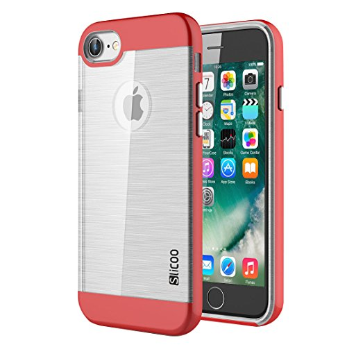 "wortek ""Slicoo Edition"" TPU + PC Hardcase Silikon-Case iPhone 7 Brushed Metal Design Blau Rot"