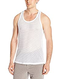 Mens High Quality Fitted Mesh Tank Vest 100% Pure Cotton Gym Training - Black, White - 2 Pack